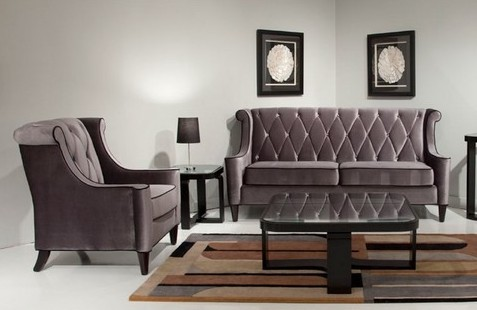 Barrister Gray W Black Piping Al 844 Sofa Loveseat Chair